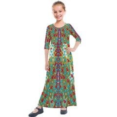 Raining Paradise Flowers In The Moon Light Night Kids  Quarter Sleeve Maxi Dress by pepitasart