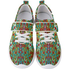 Raining Paradise Flowers In The Moon Light Night Men s Velcro Strap Shoes by pepitasart