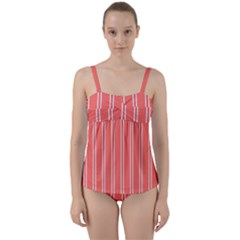 Nice Stripes In Coral Twist Front Tankini Set