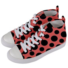 Polka Dots (large) Women s Mid Top Canvas Sneakers by TimelessFashion