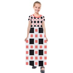 Squares On A Mission Kids  Short Sleeve Maxi Dress