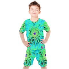 Aqua Cactus Dahlia Kid s Set by myrubiogarden