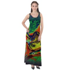 Abstract Transparent Background Sleeveless Velour Maxi Dress