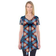 Pattern Tile Background Seamless Short Sleeve Tunic