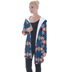 Pattern Tile Background Seamless Longline Hooded Cardigan
