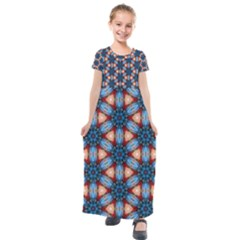 Pattern Tile Background Seamless Kids  Short Sleeve Maxi Dress