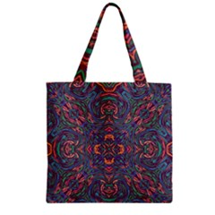 Tile Repeating Colors Textur Zipper Grocery Tote Bag by Pakrebo