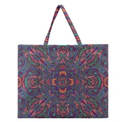 Tile Repeating Colors Textur Zipper Large Tote Bag by Pakrebo