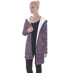 Tile Repeating Colors Textur Longline Hooded Cardigan