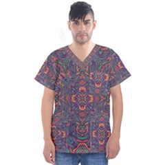 Tile Repeating Colors Textur Men s V Neck Scrub Top by Pakrebo