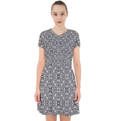 Black White Geometric Background Adorable In Chiffon Dress