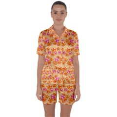 Maple Leaf Autumnal Leaves Autumn Satin Short Sleeve Pyjamas Set