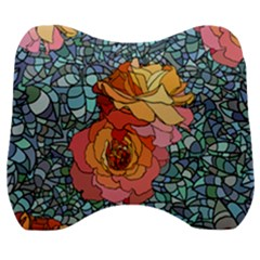 Pattern Rose Yellow Background Velour Head Support Cushion