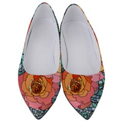 Pattern Rose Yellow Background Women s Low Heels