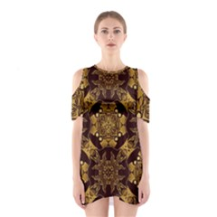 Gold Black Book Cover Ornate Shoulder Cutout One Piece Dress