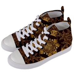Gold Black Book Cover Ornate Women s Mid Top Canvas Sneakers by Pakrebo