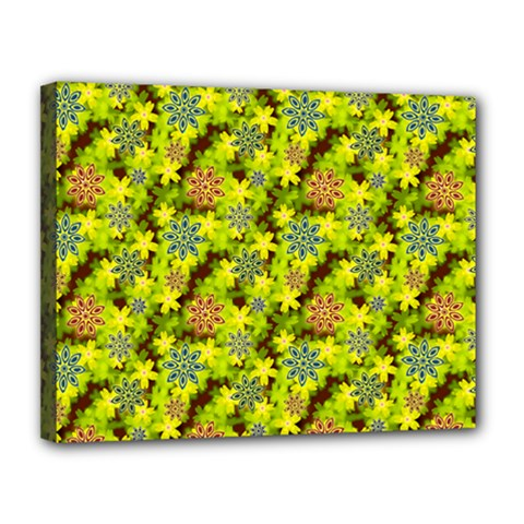 Flowers Yellow Red Blue Seamless Canvas 14  X 11  (stretched)