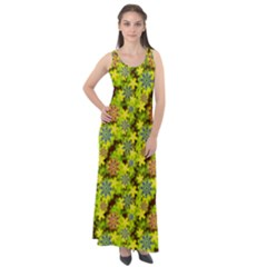 Flowers Yellow Red Blue Seamless Sleeveless Velour Maxi Dress