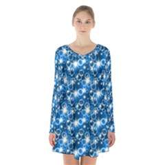 Star Hexagon Blue Deep Blue Light Long Sleeve Velvet V Neck Dress