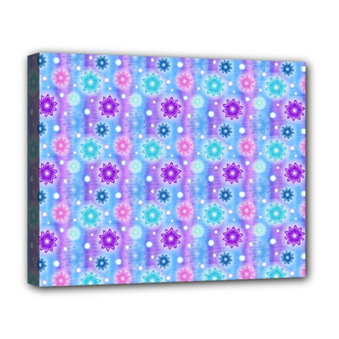 Flowers Light Blue Purple Magenta Deluxe Canvas 20  X 16  (stretched)
