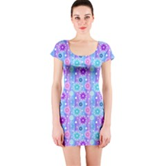 Flowers Light Blue Purple Magenta Short Sleeve Bodycon Dress by Pakrebo