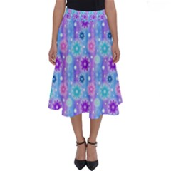 Flowers Light Blue Purple Magenta Perfect Length Midi Skirt
