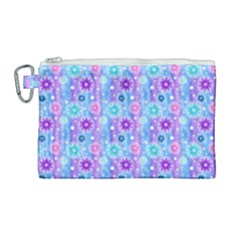 Flowers Light Blue Purple Magenta Canvas Cosmetic Bag (large)