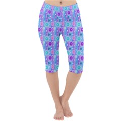 Flowers Light Blue Purple Magenta Lightweight Velour Cropped Yoga Leggings