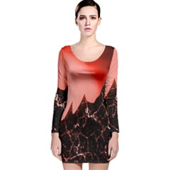 Sci Fi Red Fantasy Futuristic Long Sleeve Velvet Bodycon Dress
