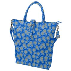 Hydrangea Blue Glitter Round Buckle Top Tote Bag