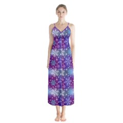 Snow White Blue Purple Tulip Button Up Chiffon Maxi Dress by Pakrebo