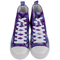 Snow White Blue Purple Tulip Women s Mid Top Canvas Sneakers