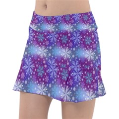 Snow White Blue Purple Tulip Tennis Skirt