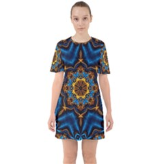 Pattern Abstract Background Art Sixties Short Sleeve Mini Dress