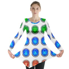 Vector Round Image Color Button Long Sleeve Tunic