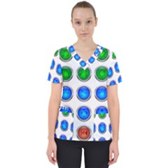 Vector Round Image Color Button Women s V Neck Scrub Top