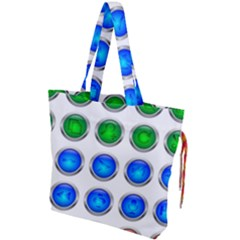 Vector Round Image Color Button Drawstring Tote Bag