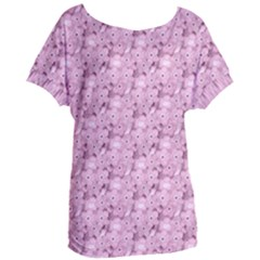 Texture Flower Background Pink Women s Oversized Tee