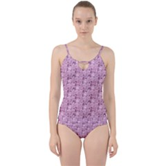 Texture Flower Background Pink Cut Out Top Tankini Set