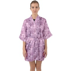 Texture Flower Background Pink Quarter Sleeve Kimono Robe