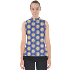 Graphic Pattern Seamless Mock Neck Shell Top