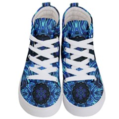 Background Blue Flower Kids  Hi Top Skate Sneakers