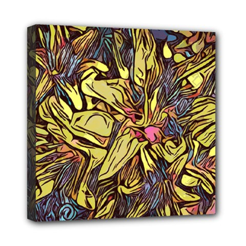 Lilies Abstract Flowers Nature Mini Canvas 8  X 8  (stretched)