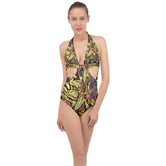 Lilies Abstract Flowers Nature Halter Front Plunge Swimsuit
