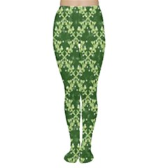 White Flowers Green Damask Tights