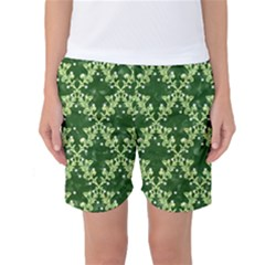 White Flowers Green Damask Women s Basketball Shorts