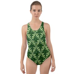 White Flowers Green Damask Cut Out Back One Piece Swimsuit