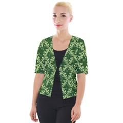 White Flowers Green Damask Cropped Button Cardigan by Pakrebo