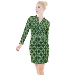 White Flowers Green Damask Button Long Sleeve Dress
