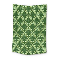 White Flowers Green Damask Small Tapestry